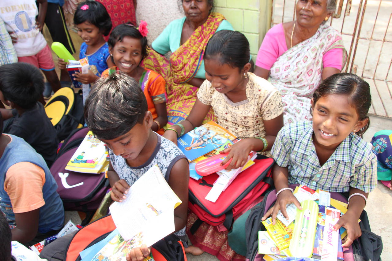 More smiles as the children see what they received